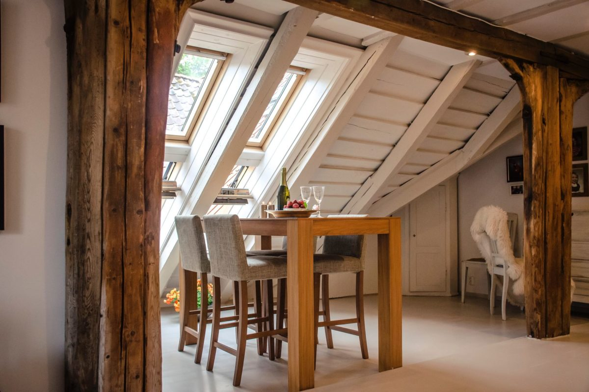 Dinning table in the attic
